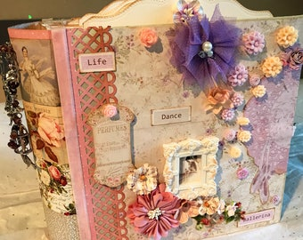 Handcrafted big mini album scrapberrys juliet ballet themed album in a vintage style.