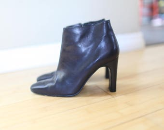 vintage calvin klein black leather  oxford ankle boots womens 6 1/2