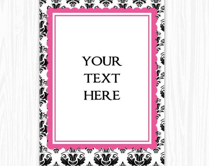 5x7 Black and White Damask BLANK Sign, Printable Sign or Invite, Birthday or Shower, Editable Sign or Invitation, INSTANT Download