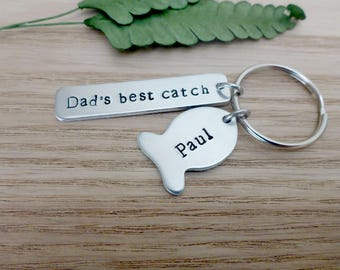 Personalised Keyring for Dad - Hand Stamped Keyring - Gifts for Dad - Daddy Keyring - Fathers Day Gift