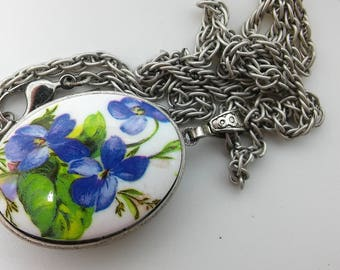 Solid Perfume Locket with blue flower and Pewter chain* Choose your fragrance
