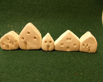 Set Of 5 Miniature Houses As A Shelf, Cabinet, Window Sill Sitter, Fairy House, or Fairy Garden
