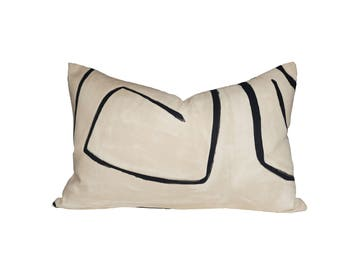 Kelly Wearstler Graffito Linen/Onyx -  LUMBAR Designer Pillow Cover - 1 sided or 2 sided - Choose Your Size