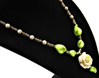 Murano glass rose necklace; yellow rose necklace; 18 inch necklace
