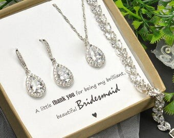 Bridesmaid Gift Bridesmaid Jewelry Set Bridesmaid Earrings Necklace and Bracelet Set Personalized Bridesmaid Gift Wedding Jewelry Set