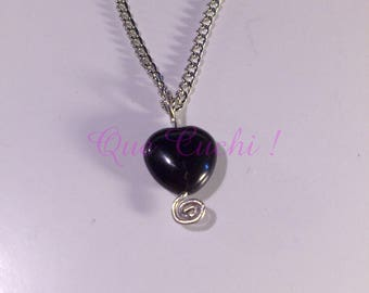 Onyx stone heart pendant with chain