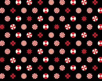 Tula Pink - Holiday Homies - Peppermint Stars - Ink  PWTP108.0INKX  by Tula Pink for Free Spirit Fabric