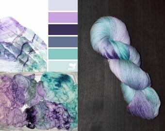 Fluorite colorway-  Hand Dyed Yarn  - Merino / Bamboo / Nylon - fingering weight 434 yards 4oz - indie dyed - knitting crocheting sock yarn
