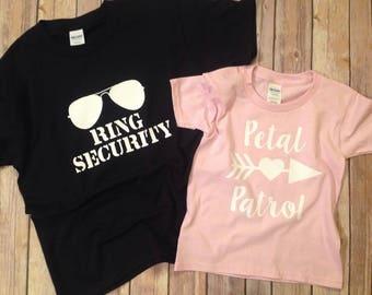Ring Securit & Petal Patrol shirt set, Wedding Rehearsal Shirt, Ring Bearer Gift, Ring Bearer Shirt, Flower Girl Gift