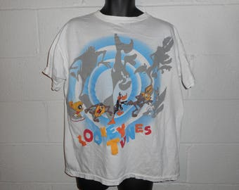Vintage 90s Looney Tunes Taz  Bugs Marvin The Martian Daffy Wile E Coyote T-Shirt XL