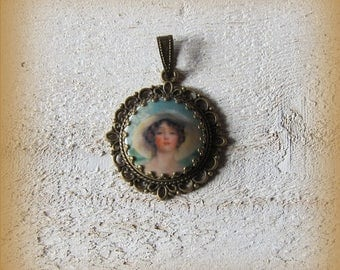 Bronze pendant and its porcelain cabochon, contemporary art, blue, for jewelry composition