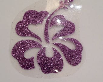 Fusible pattern fabric sequin purple hibiscus
