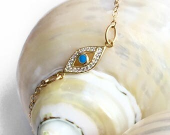 Tiny Evil Eye Bracelet - Protection Jewelry - Uplifting Jewelry