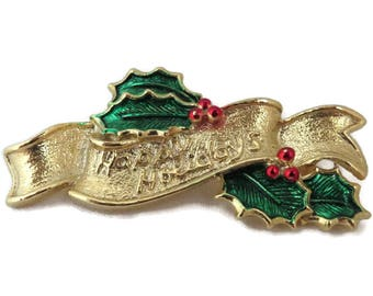 Gerry's Happy Holidays Brooch, Vintage Gold Tone Holly Berry Bar Brooch, FREE SHIPPING