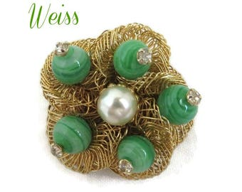 Weiss Bird's Nest Brooch, Vintage Art Glass, Gold Tone Pin, Faux Pearl Rhinestone Pin, Signed Designer Jewelry