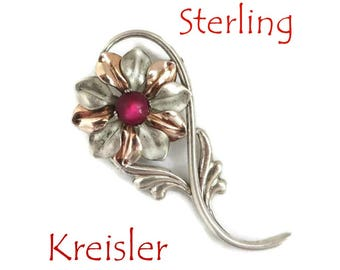Kreisler Silver Flower Brooch, Vintage Signed Designer Sterling Silver Pin, Mid Century Jewelry, Perfect Gift, Gift Box