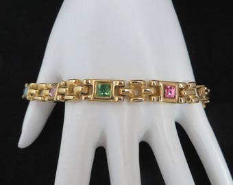 Vintage Gold Tone Rhinestone Bracelet - Chunky Chain Link - Pastel Stone Bracelet - Classic 80s Jewelry