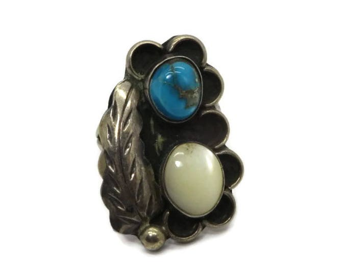 Navajo Sterling Silver Feather Ring, Vintage Turquoise and MOP Native American Ring, Size 6, FREE SHIPPING