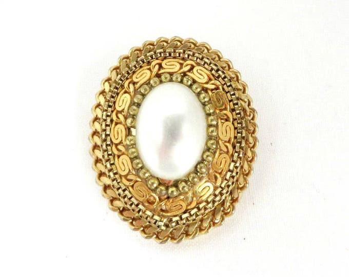 Faux Pearl Scarf Clip, Vintage Braided Gold Tone Oval Clip, Gift for Her