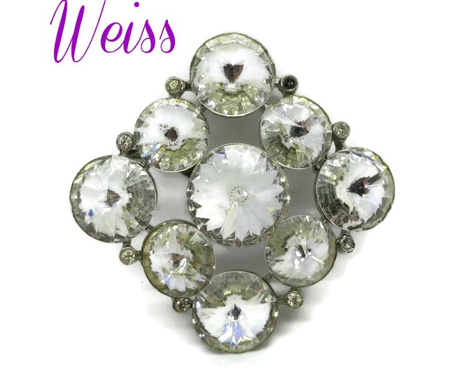 Weiss Clear Rhinestone Brooch | Vintage Diamond Shaped Signed Designer Pin | Bridal Jewelry