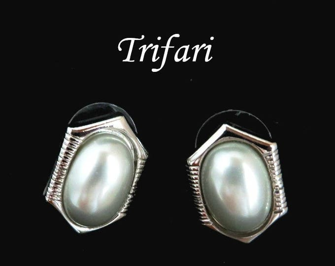 Trifari Faux Pearl Earrings, Vintage Silver Tone Pierced Stud Earrings, Signed Designer Jewelry, FREE SHIPPING