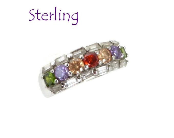 Sterling Silver Multistone CZ Ring, Vintage Multicolor Wide Band Ring, Size 7, Gift for Her, FREE SHIPPING