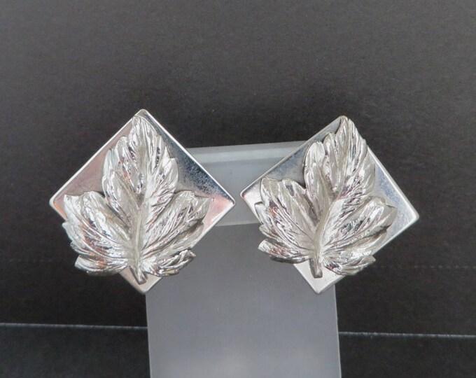 Vintage Leru Leaf Earrings, Silver Tone Square Earrings, Signed Leru Clip-on Earrings