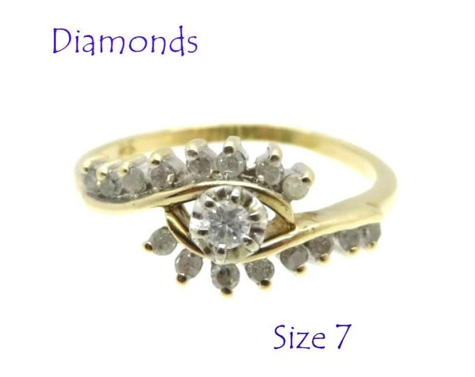 Diamond Cocktail Ring  - 10K Gold Diamond Ring, Vintage Cluster Cocktail Ring, Perfect Gift, Size 7, Gift Box