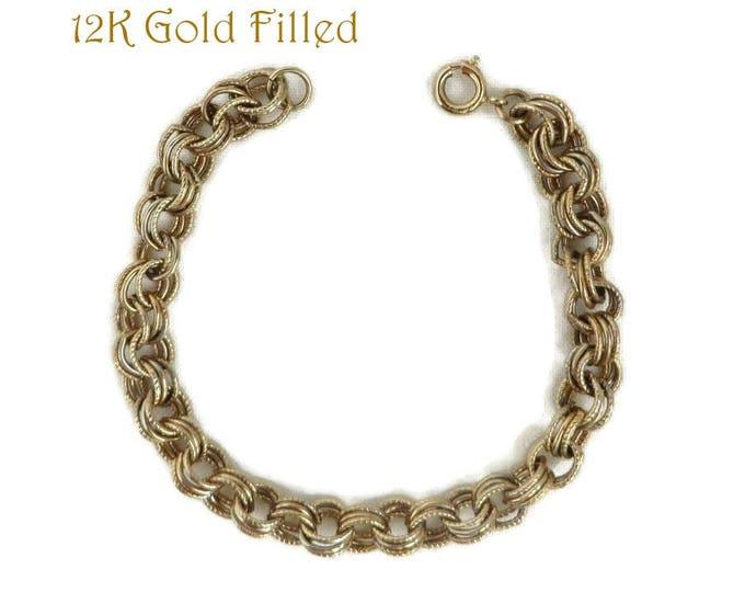 Vintage 12K Gold Filled Charm Bracelet, Triple Chain Link, 7 Inch Length Bracelet, Valentine Gift, Dainty Link Bracelet, Gift Boxed