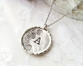 Letter Necklace Initial Necklace Letter Jewelry Initial Jewelry Letter Pendant Rose Jewelry Large Disc Necklace Hand Stamped Necklace Flower