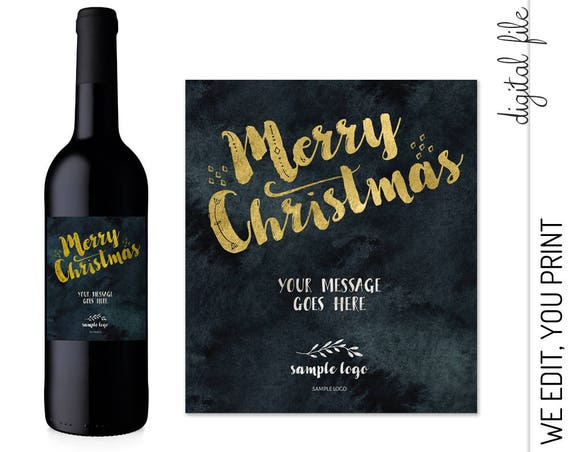 Corporate Holiday Wine Label with Logo | Merry Christmas Wine label | Personalized Company Wine Label Holiday Gift | Printable Wine Label