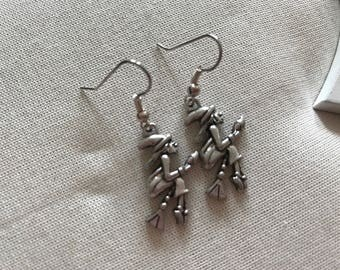 Witch flying on her broomstick silver coloured earrings end of line