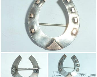 Victorian Silver Horseshoe Brooch symbolic Good Luck guard against evil Spirits