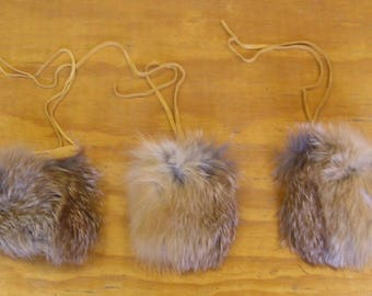 3 Red Fox Fur & Gold Color Deer Leather Bags