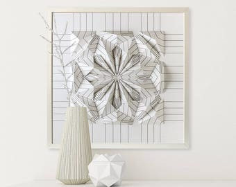 Drawing Wall Sculpture Origami - Black and White - Art Relief - Modern Geometric Abstract Decor Object - By Kubo Novak -Draw 5V8