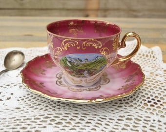 Vintage Seltmann Weiden Germany G ' Hinterglemm Saalbach' Small China Cup with Saucer Retro Germany Chinaware Collectible Seltmann China