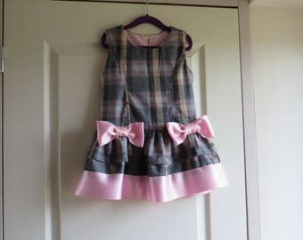 Little pinafore dress grey and Pink Plaid with Ruffles and bows (18-24 m)