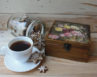 Wooden tea box Tea storage box Tea bag holder Tea bag storage Tea chest Tea caddy Wood tea box Tea box wood Tea gift box Tea lover gift