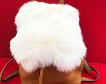 Camel Shearling Backpack