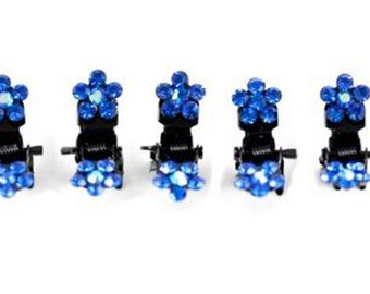 Hand Made Hair Jewelry Flower Mini Jaws swarovski crystal Petals Set of 5 Blue(SO5021-blue)