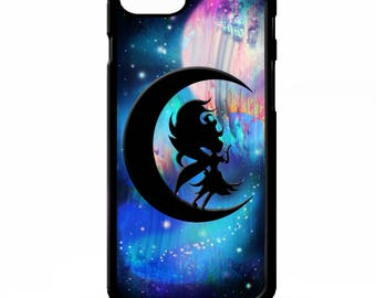 Fairy princess crescent moon fairies stars pattern print illustration cover for iphone 4 4s 5 5s 5c 6 6s 7 plus SE phone case