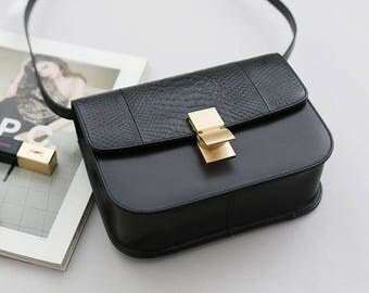 Womens Calf Skin Leather Python Shoulder Bag Cross Body Messenger Bag 5539