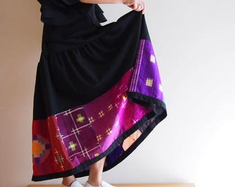 Patch-worked Skirt with Vintage Japanese Kimono Fabrics <RS13S05-020>