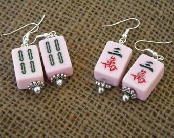Mini Mahjong Earrings - Pink Chinese Earrings - Mahjong Jewelry - Pink Mahjong - Oriental Jewelry - Mahjong Gift - Oriental Gift