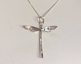 Extra Small Dragonfly Pendant - Sterling Silver