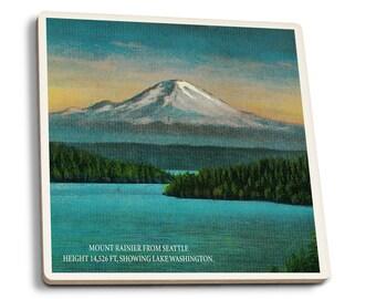 Seattle, WA - Mt Rainier - Vintage Halftone (Set of 4 Ceramic Coasters)