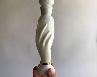 Vintage Avon Milk Glass Perfume Bottle Hand  Art Nouveau Avon Bottle