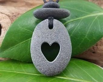 Heart Necklace carved beach rock jewelry heart pendant beach pebble pendant minimalist jewelry natural stone jewelry boho necklace
