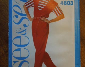 Butterick See and Sew 4803, sizes 12-16, jumpsuit, womens, UNCUT sewing pattern, craft supplies