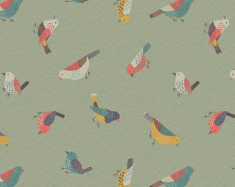 A253.2 - Hedgerow Birds On Light Sage Lewis & Irene Patchwork Quilting Dressmaking Fabric